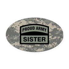 Proud Army Sister Camo Oval Car Magnet
