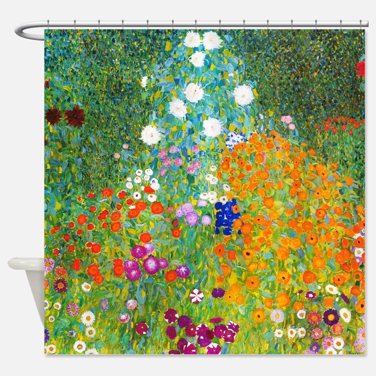 Gustav Klimt Flower Garden Shower Curtain