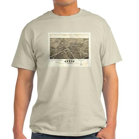 Akron antique map. Light T-Shirt