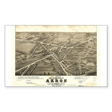 Akron antique map. Rectangle Sticker