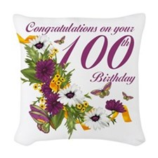 100th Birthday Floral Butterfly Woven Throw Pillow