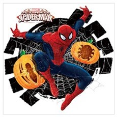 Spider-Man Web and Pumpkins Wall Art Poster