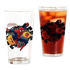 Spider-Man Web and Pumpkins Drinking Glass