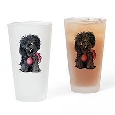 Playful Newfie Pup Drinking Glass