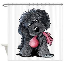 Playful Newfie Pup Shower Curtain