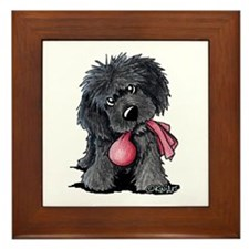 Playful Newfie Pup Framed Tile