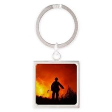 Fire Square Keychain