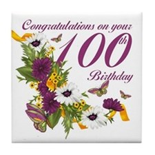 100th Birthday Floral And Butterfly Tile Coaster