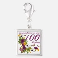100th Birthday Floral Silver Square Charm Charms
