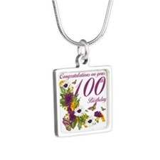 100th Birthday Floral Silver Square Necklaces