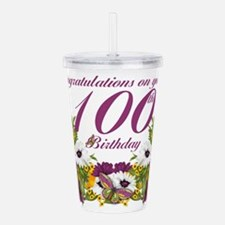 100th Birthday Floral Acrylic Double-Wall Tumbler