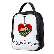 I love-heart veggie burgers Neoprene Lunch Bag