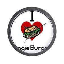 I love-heart veggie burgers Wall Clock