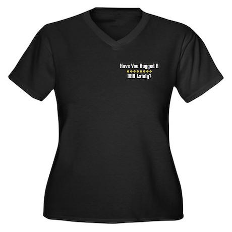 Hugged DBA Women's Plus Size V-Neck Dark T-Shirt