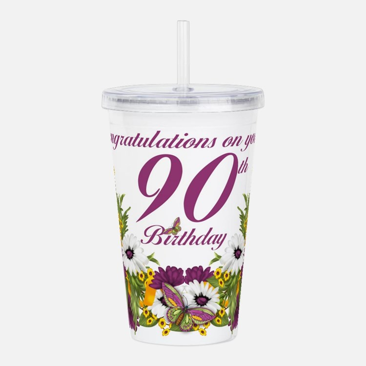 90th Birthday Floral Acrylic Double-Wall Tumbler
