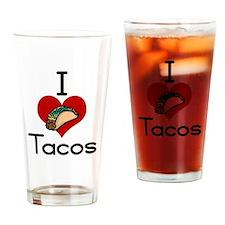 I love-heart tacos Drinking Glass