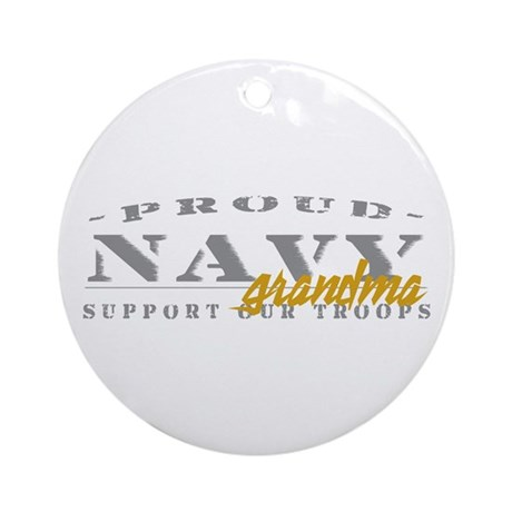 Proud Navy Grandma (red) Ornament (Round)