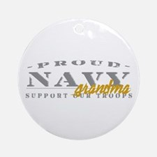 Proud Navy Grandma (red) Ornament (Round)