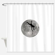 Pole Vaulter Moon Shower Curtain