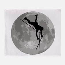 Pole Vaulter Moon Throw Blanket