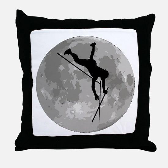 Pole Vaulter Moon Throw Pillow