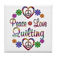 Peace Love Quilting Tile Coaster