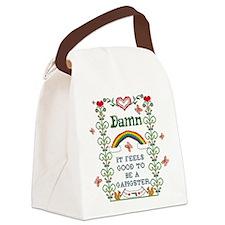 Unique Cross stitching Canvas Lunch Bag