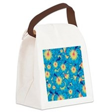 Light blue hibiscus Canvas Lunch Bag