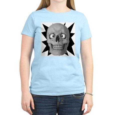 Halloween Cross-Eyed Skull Women's Pink T-Shirt