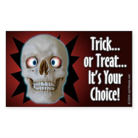Halloween Cross-Eyed Skull Sticker (Rect.)