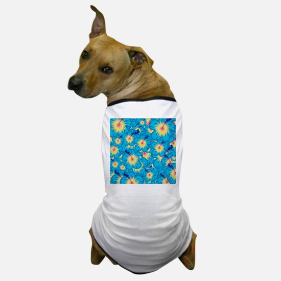 Light blue hibiscus Dog T-Shirt