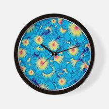 Light blue hibiscus Wall Clock