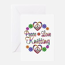 Peace Love Knitting Greeting Card
