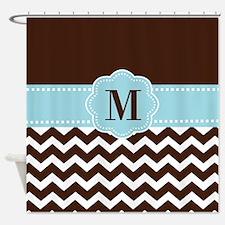 Brown Blue Chevron Monogram Shower Curtain