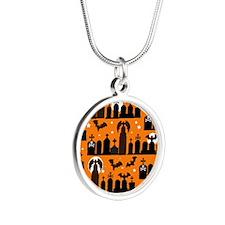 Halloween Gravestones Silver Round Necklace