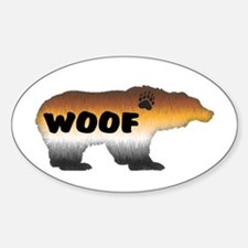 FURRY PRIDE BEAR/WOOF Oval Decal