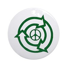 Recycle Peace Sign Ornament (Round)