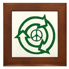 Recycle Peace Sign Framed Tile