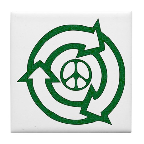 Recycle Peace Sign Tile Coaster