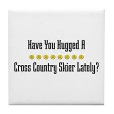 Hugged Cross Country Skier Tile Coaster