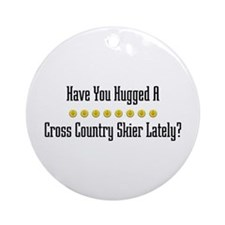 Hugged Cross Country Skier Ornament (Round)