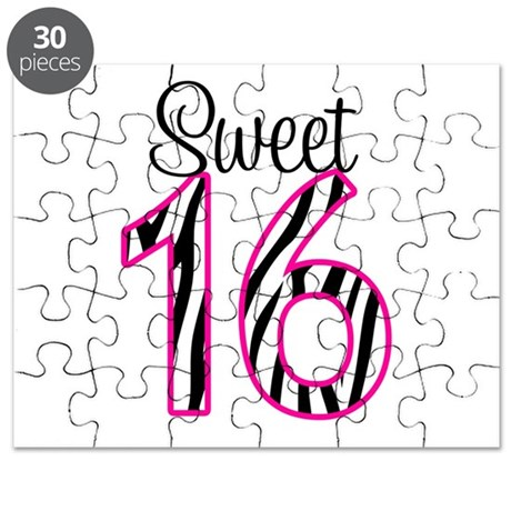Sweet 16 zebra pink puzzle by printcreekstudio for Sweet sixteen coloring pages
