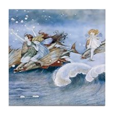 Sea Fairies Kids Tile Coaster