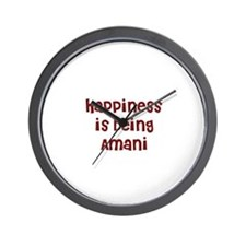 happiness is being Amani Wall Clock