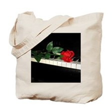 Rose on Piano 2 Tote Bag