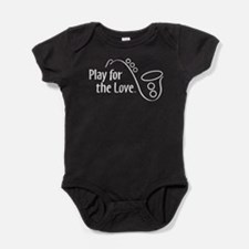 PLAY FOR THE LOVE SAXOPHONE white Baby Bodysuit