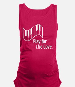 PLAY FOR THE LOVE PIANO white Maternity Tank Top
