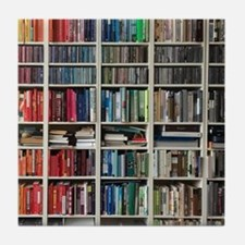 colorful library 2 Tile Coaster