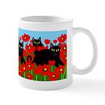 BLACK CATS POPPIES Mug