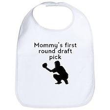 Mommys First Round Draft Pick Baseball Bib
